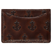 Buy Jack Spade Embossed Anchor Leather Credit Card Holder, Brown Online at johnlewis.com