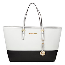 Buy MICHAEL Michael Kors Jet Set Travel Color Block Medium Saffiano Leather Tote Bag Online at johnlewis.com