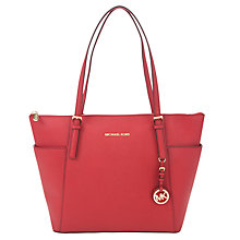 Buy MICHAEL Michael Kors Jet Set East/West Leather Tote Bag, Red Online at johnlewis.com