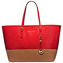 Buy MICHAEL Michael Kors Jet Set Travel Color-Block Medium Saffiano Leather Tote Bag Online at johnlewis.com