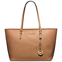 Buy MICHAEL Michael Kors Jet Set Travel Leather Tote Bag, Suntan Online at johnlewis.com