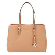 Buy MICHAEL Michael Kors East West Travel Large Leather Tote Bag, Suntan Online at johnlewis.com