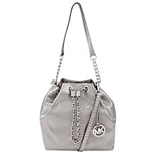 Buy MICHAEL Michael Kors Frankie Leather Medium Drawstring Bag, Silver Online at johnlewis.com