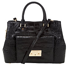 Buy Michael Kors Haley Large Leather Satchel Bag, Black Online at johnlewis.com