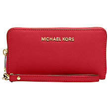 Buy MICHAEL Michael Kors Jet Set Travel Multi Function Leather Purse, Red Online at johnlewis.com