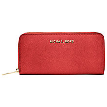 Buy MICHAEL Michael Kors Jet Set Travel Zip Around Saffiano Leather Continental Purse Online at johnlewis.com