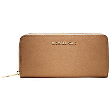 Buy MICHAEL Michael Kors Jet Set Travel Zip Around Leather Purse, Suntan Online at johnlewis.com