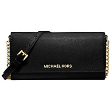 Buy MICHAEL Michael Kors Jet Set Travel Saffiano Leather Chain Wallet, Black Online at johnlewis.com
