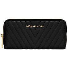 Buy MICHAEL Michael Kors Susannah Jet Set Travel Zip Around Leather Purse, Black Online at johnlewis.com