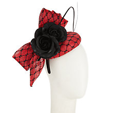 Buy John Lewis Carrie Bow Pillbox Occasion Hat, Red/Black Online at johnlewis.com