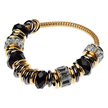 Buy Adele Marie Faceted Bead Stretch Bracelet, Black / Gold Online at johnlewis.com