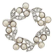 Buy Downton Abbey Pearl & Crystal Brooch, Silver Online at johnlewis.com