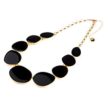 Buy Adele Marie Enamel Flat Pebble Necklace, Black / Gold Online at johnlewis.com