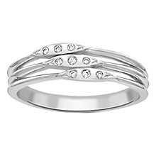 Buy London Road Velvet Leaf 9ct White Gold Diamond 3 Row Ring, White Gold Online at johnlewis.com