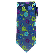 Buy John Lewis Satin Contrast Floral Silk Tie, Navy/Multi Online at johnlewis.com