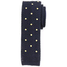 Buy John Lewis Heavy Knit Dot Silk Tie, Navy/Yellow Online at johnlewis.com