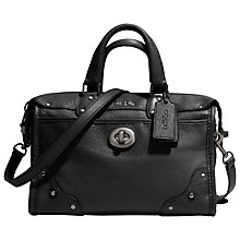 Buy Coach Rhyder Leather Satchel, Black Online at johnlewis.com
