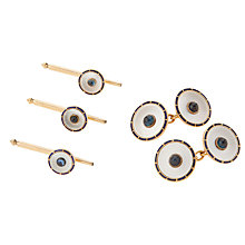 Buy Jenny Knott Edwardian 1910 Rose Gold Enamel and Mother of Pearl Cufflink Set, Neutral Online at johnlewis.com