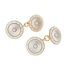 Buy Jenny Knott Rose Gold and Mother of Pearl Button Cufflinks, Gold/White Online at johnlewis.com