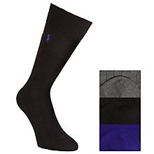 Buy Polo Ralph Lauren Socks, One Size, Pack of 3, Black/Grey/Purple Online at johnlewis.com