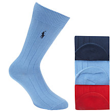 Buy Polo Ralph Lauren Ribbed Socks Gift Set, Pack of 3, One Size, Blue/Red/Navy Online at johnlewis.com