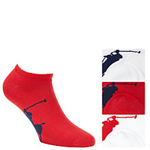 Buy Polo Ralph Lauren Trainer Socks, Pack of 3, One Size, Red/White Online at johnlewis.com