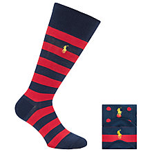 Buy Polo Ralph Lauren  Stripe and Spot Socks, Pack of 2, One Size, Navy/Red Online at johnlewis.com