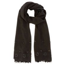 Buy Coast Crystal Flower Scarf, Black Online at johnlewis.com