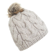 Buy Miss Selfridge Fur Pom Beanie, Taupe Online at johnlewis.com