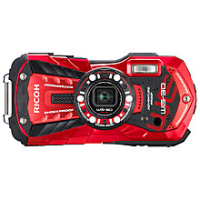 "Buy Ricoh WG-30 Tough Waterproof Camera, HD 1080p, 16MP, 5x Optical Zoom, 2.7"" LCD Screen, Red Online at johnlewis.com"