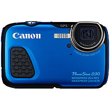 "Buy Canon PowerShot D30 Waterproof Camera, HD 1080p, 12.1MP, 5x Optical Zoom, GPS, 3"" LCD Screen, Blue Online at johnlewis.com"
