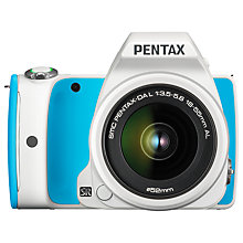 "Buy Pentax K-S1 Digital SLR Camera with 18-55mm Lens, HD 1080p, 20MP, 3"" LCD Screen, White & Blue with Memory Card Online at johnlewis.com"