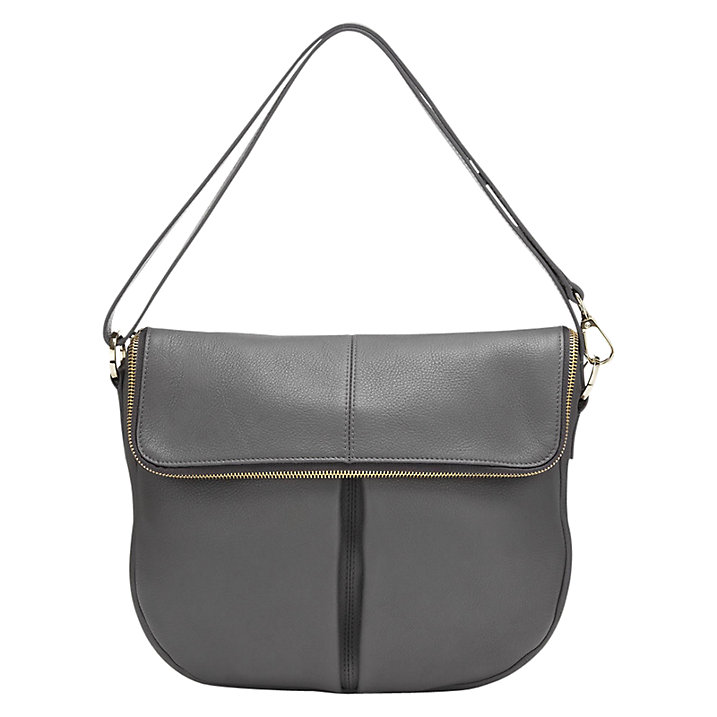 Buy Whistles Duffy Zip Satchel Bag, Dark Grey Online at johnlewis.com