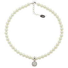 Buy Finesse Pearl Necklace Rhodium Plating Crystal Necklace, White Online at johnlewis.com