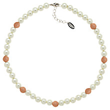 Buy Finesse Rose Gold Plated Cubic Zirconia Pearl Necklace, White/Pink Online at johnlewis.com