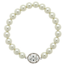 Buy Finesse Faux Pearl Large Oval Crystal Bracelet, White Online at johnlewis.com