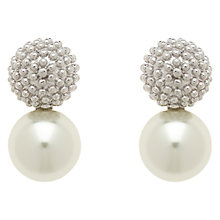Buy Finesse Pearl Rhodium Plating Ball Earrings, White/Silver Online at johnlewis.com