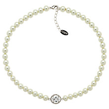 Buy Finesse Faux Pearl Large Oval Crystal Necklace, White Online at johnlewis.com