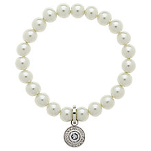Buy Finesse Faux Pearl Crystal Rhodium Plating Bracelet, White Online at johnlewis.com