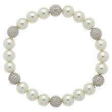 Buy Finesse Faux Pearl Bead Bracelet, White/Silver Online at johnlewis.com