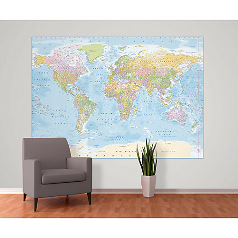 Buy 1wall blue map wall mural john lewis for Blue world map wall mural