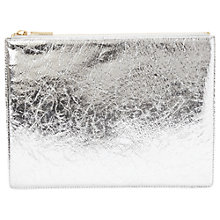 Buy Whistles Medium Cracked Leather Clutch, Silver Online at johnlewis.com