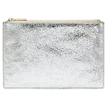 Buy Whistles Small Cracked Leather Clutch Bag, Silver Online at johnlewis.com