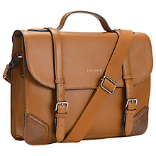 Buy Ted Baker Lextons Leather Briefcase, Tan Online at johnlewis.com