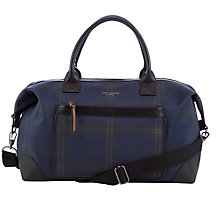 Buy Ted Baker Radayo Checked Holdall Bag, Navy Online at johnlewis.com