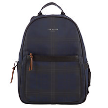 Buy Ted Baker Willsha Checked Backpack, Navy Online at johnlewis.com