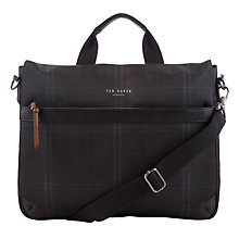 Buy Ted Baker Kresent Checked Messenger Bag, Black Online at johnlewis.com