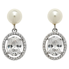 Buy Finesse Pearl Large Oval Crystal Earrings, White/Silver Online at johnlewis.com
