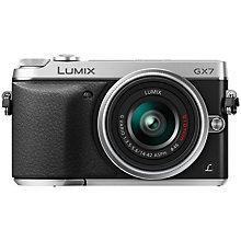 "Buy Panasonic Lumix DMC-GX7 Compact System Camera with 14-42mm IS Lens, HD 1080p, 16MP, EVF, Wi-Fi, NFC, 3"" LCD, Black & Silver Online at johnlewis.com"