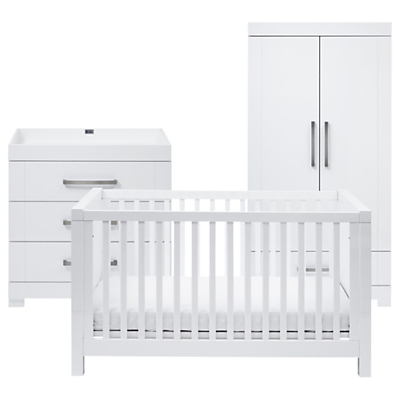 Silver Cross Notting Hill Cotbed, Dresser & Wardrobe, White